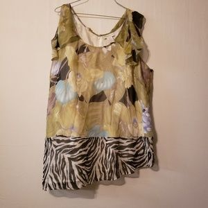 Soft Surroundings floral and zebra print blouse